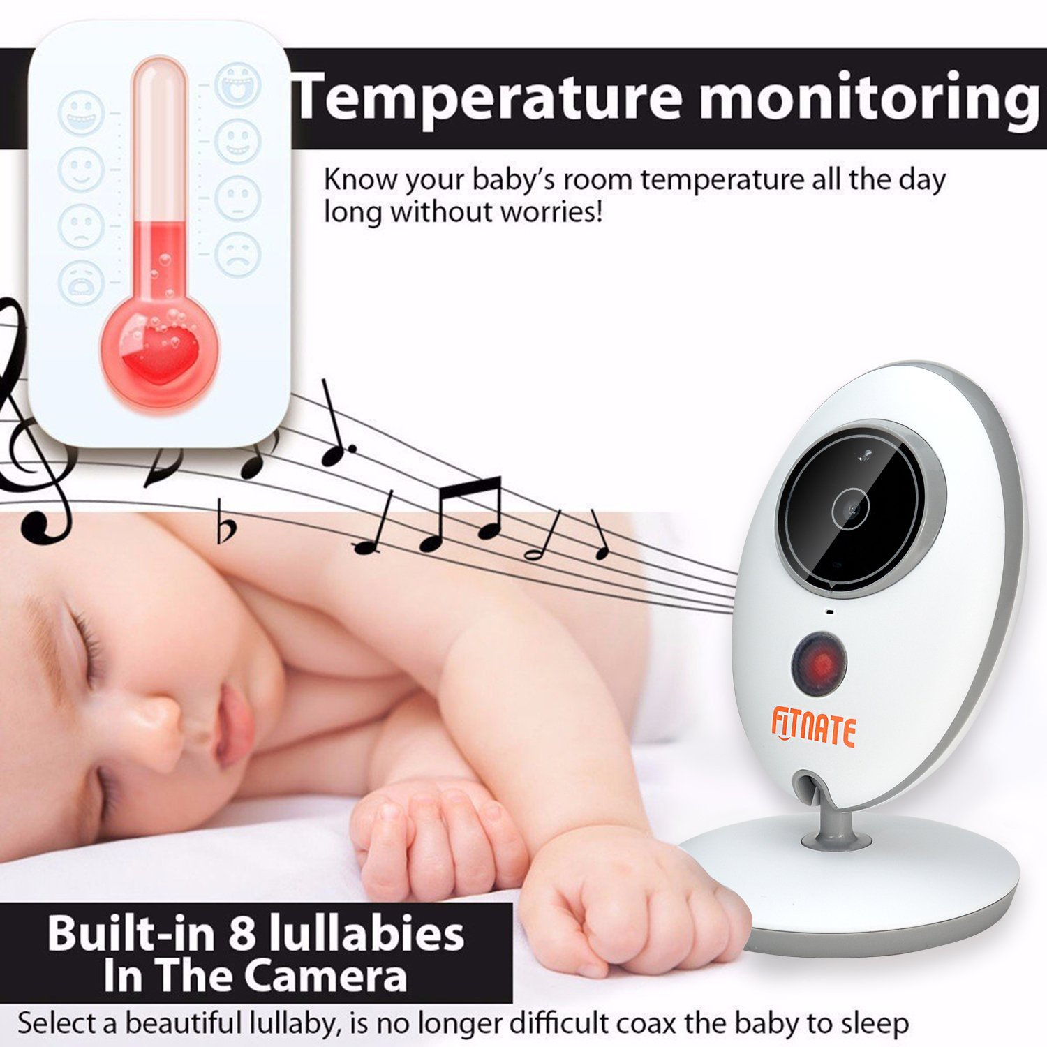 Video Baby Monitor, Fitnate Wireless Baby Monitor with Digital Camera, Night Vision Temperature Monitoring & 2 Way Talkback System, Built-in Remote Lullabies - 2.31.5 inch Monitor Version