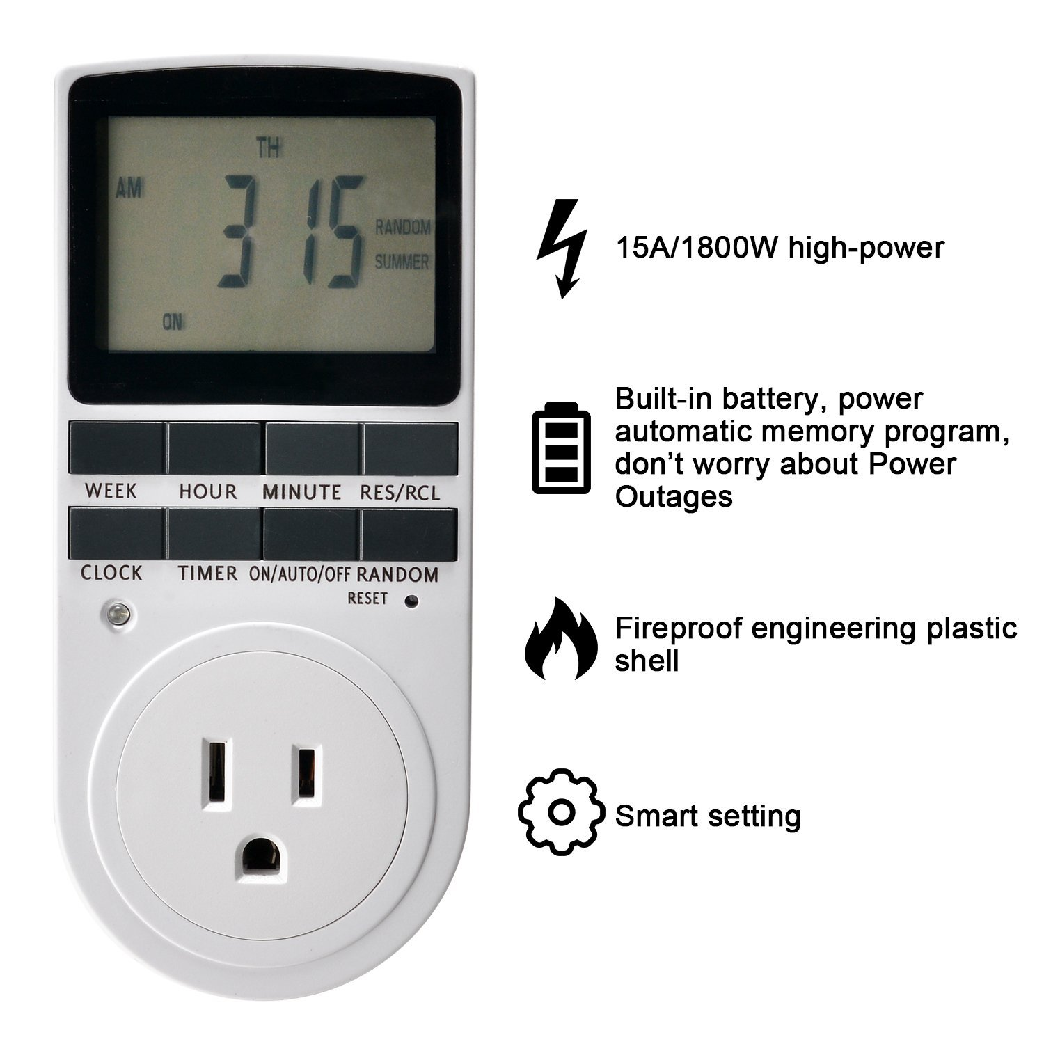 Timer Switch Fitnate Digital Programmable 7 Day On Off Countdown Smart Control Plug In