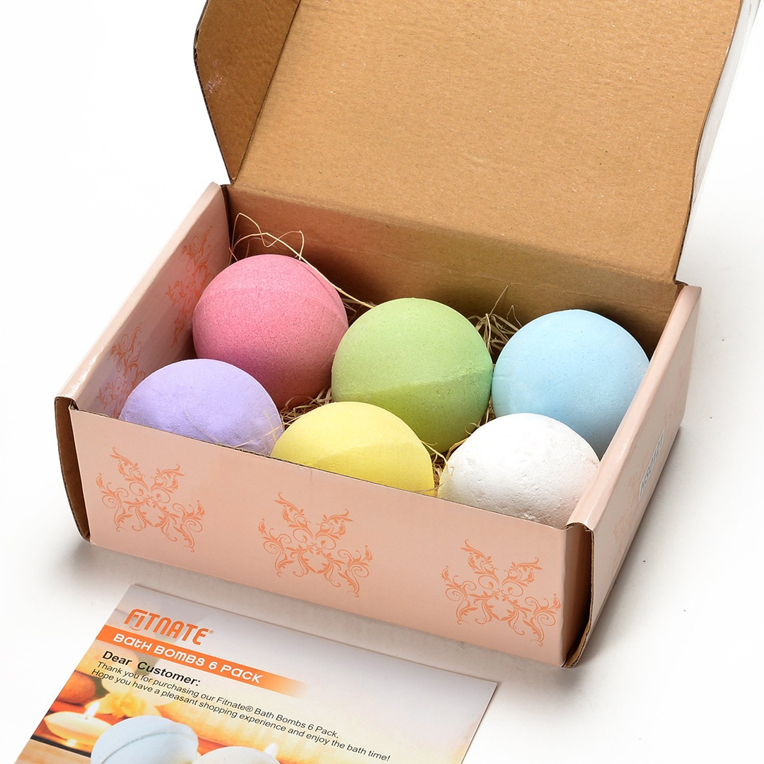 Bath Bombs Gift Set, Fitnate Handmade Spa Bath Bombs Kit Ultra Lush Spa Fizzy - 6 pcs Larger Size