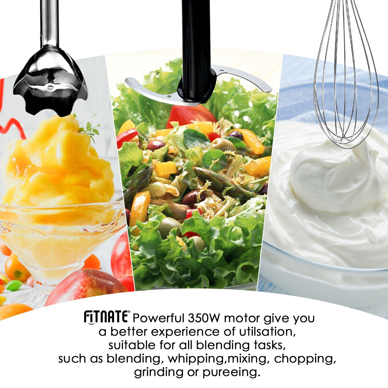 Fitnate 4 in 1 Immersion Hand Blender Stick Mixer 5 Speed Smart Blender Set with Chopper & Whisk & Beaker Set, Super Strong Motor, 350W