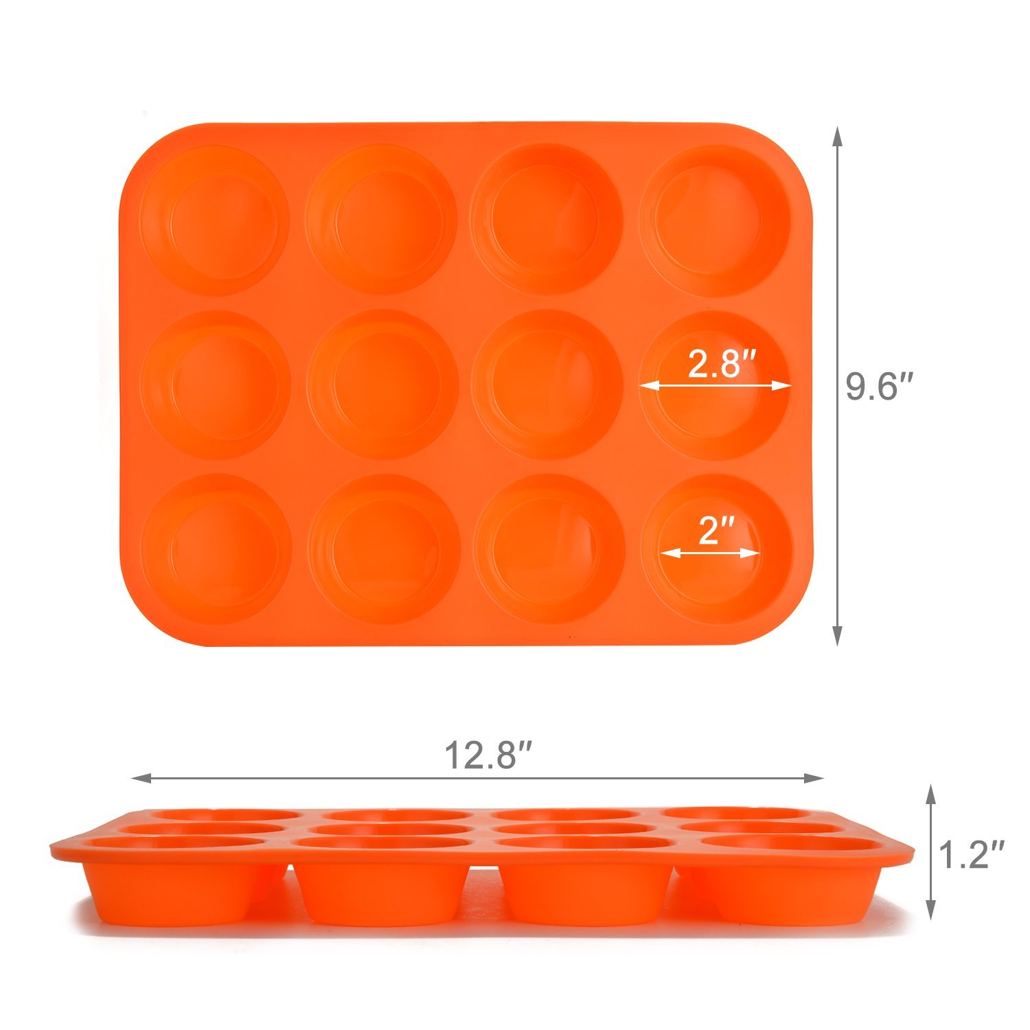Fitnate Silicone Muffin Pan, 12 Cup Premium Cupcakes Baking Pan, Non-Stick, BPA Free Food Grade Silicone Mold Material – Dishwasher/Microwave Safe