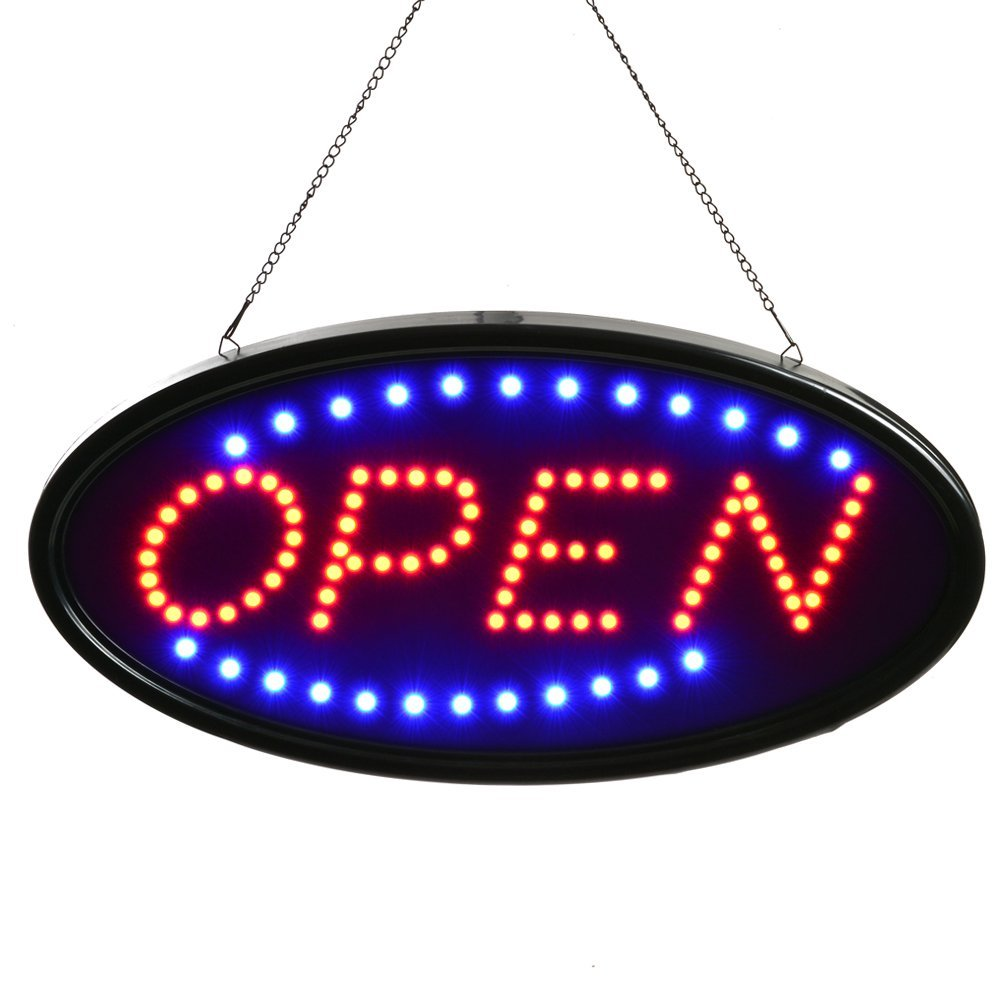 Neon Sign OPEN, Fitnate LED business open sign advertisement board Electric Display Sign, Two Modes Flashing & Steady light, for business, walls, window, shop, bar, hotel