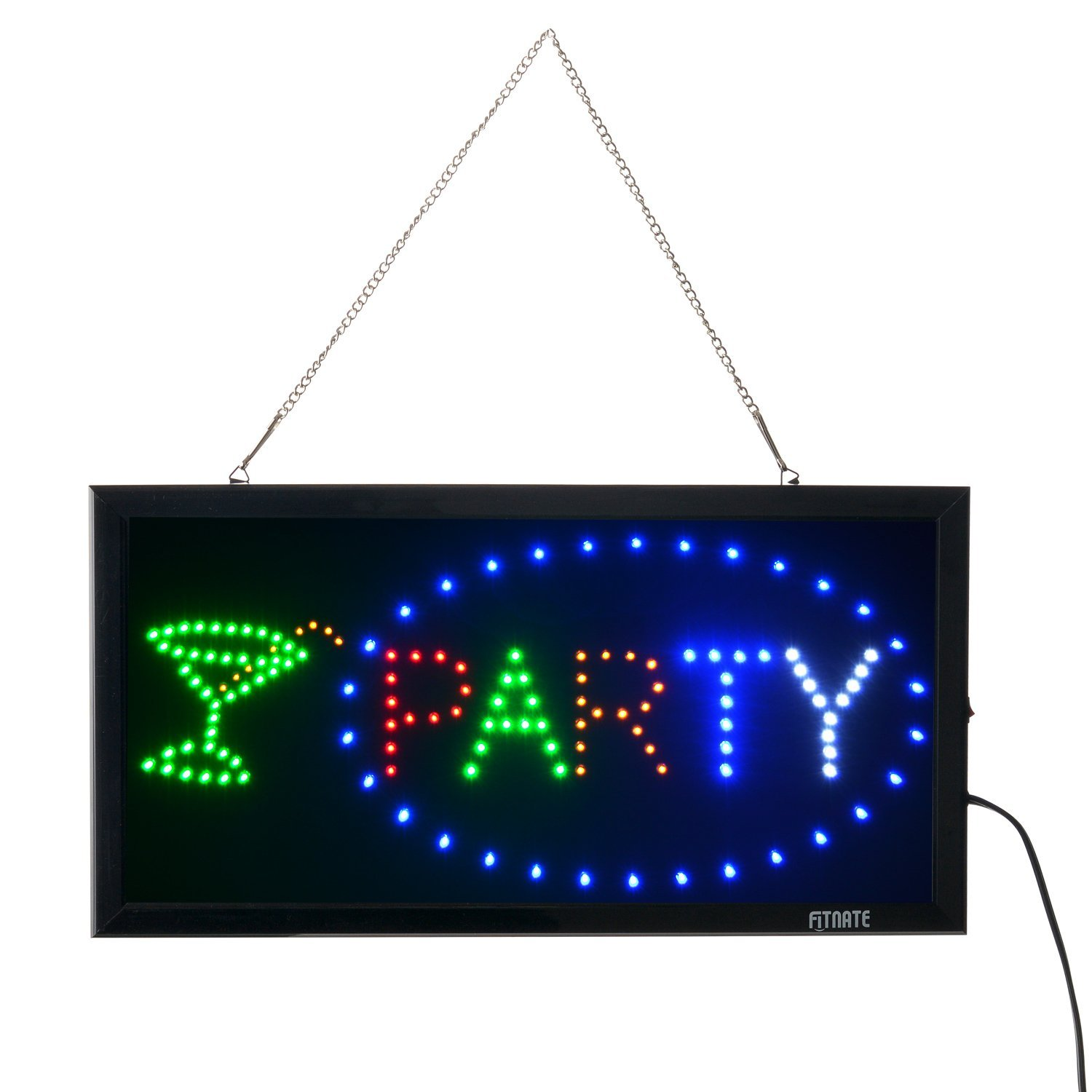 Party Sign, Fitnate LED Neon Party Sign Bright Advertising Board Electric Lighted Display Sign - Two Modes Flashing & Steady Light for Wedding, Holiday, Family Reunion, Business, Window, Bar, Hotel
