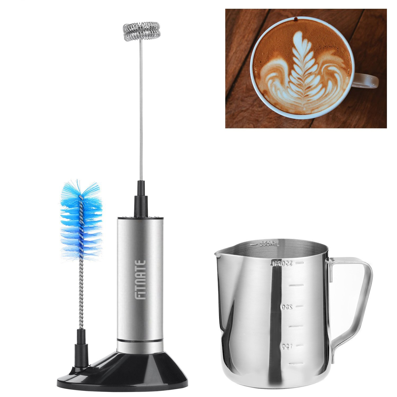 Milk Frother, Fitnate Electric Handheld Milk Frother Set, Stainless Steel Whisk & 12oz Milk Frother Pitcher for Espresso Machines, Milk Frothers & Latte Art