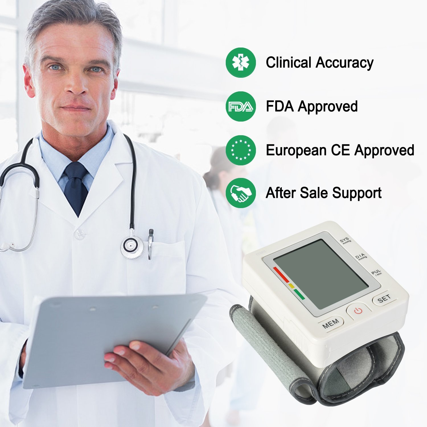 Fitnate FDA CE Approved Automatic Wrist Blood Pressure Monitor, Portable Irregular Heartbeat BP Monitor, Dual User Modes, 2*90 Memory Recall, Adjustable Wrist Cuff, IHB Indicator Accurate for Health: