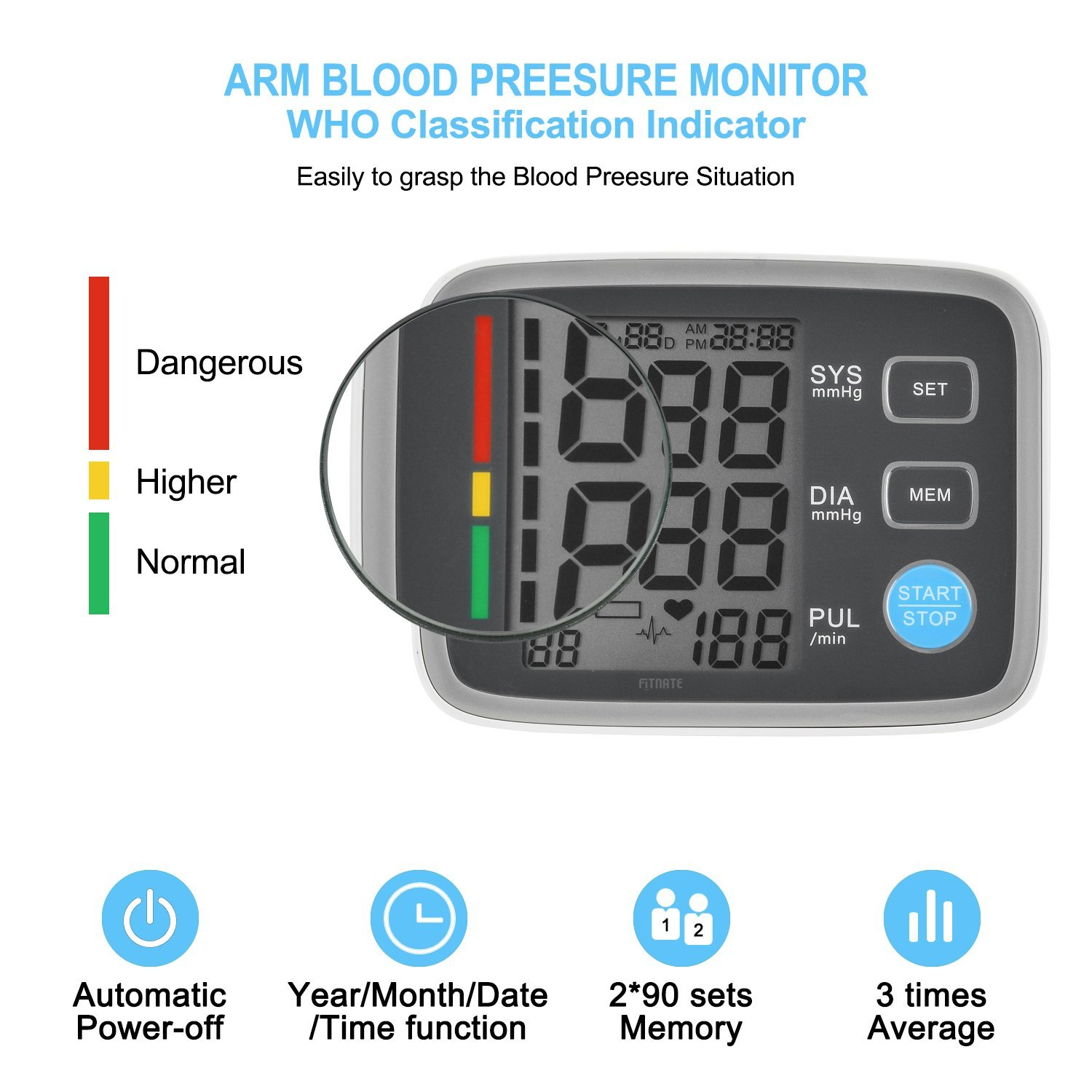Fitnate FDA CE Approved Automatic Upper Arm Blood Pressure Monitor with Cuff, Portable Digital BP Monitor with a Large LCD Displays, Fit Standard and Large Arms, Perfect Meter For Home and Travel: Hea
