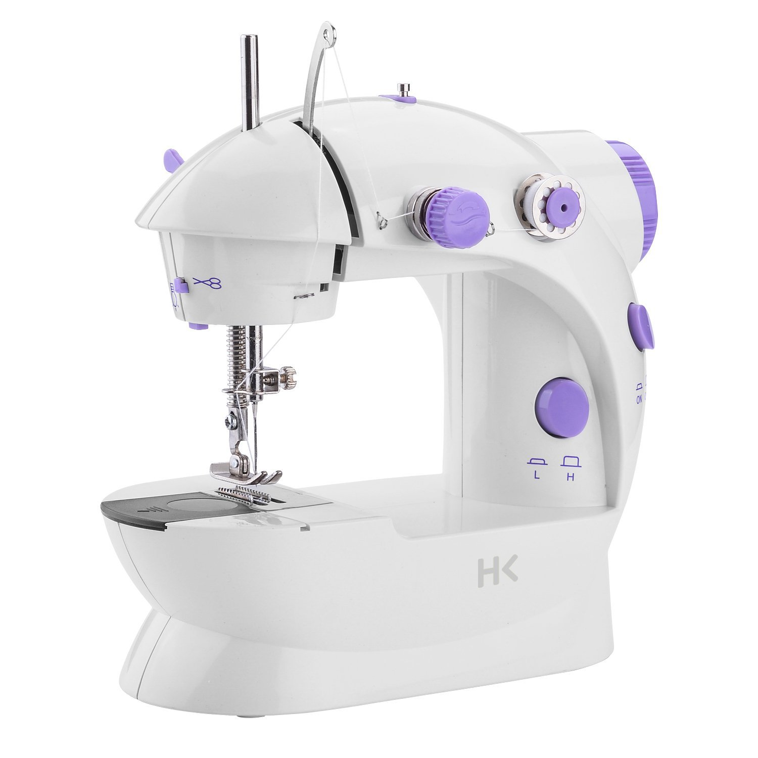 Fitnate Portable Sewing Machine with Double Speed Electric Crafting Sewing machine 2-Speed Double Thread with Light & Cutter, Foot Pedal for Household, Double Use for Power Supply or Battery