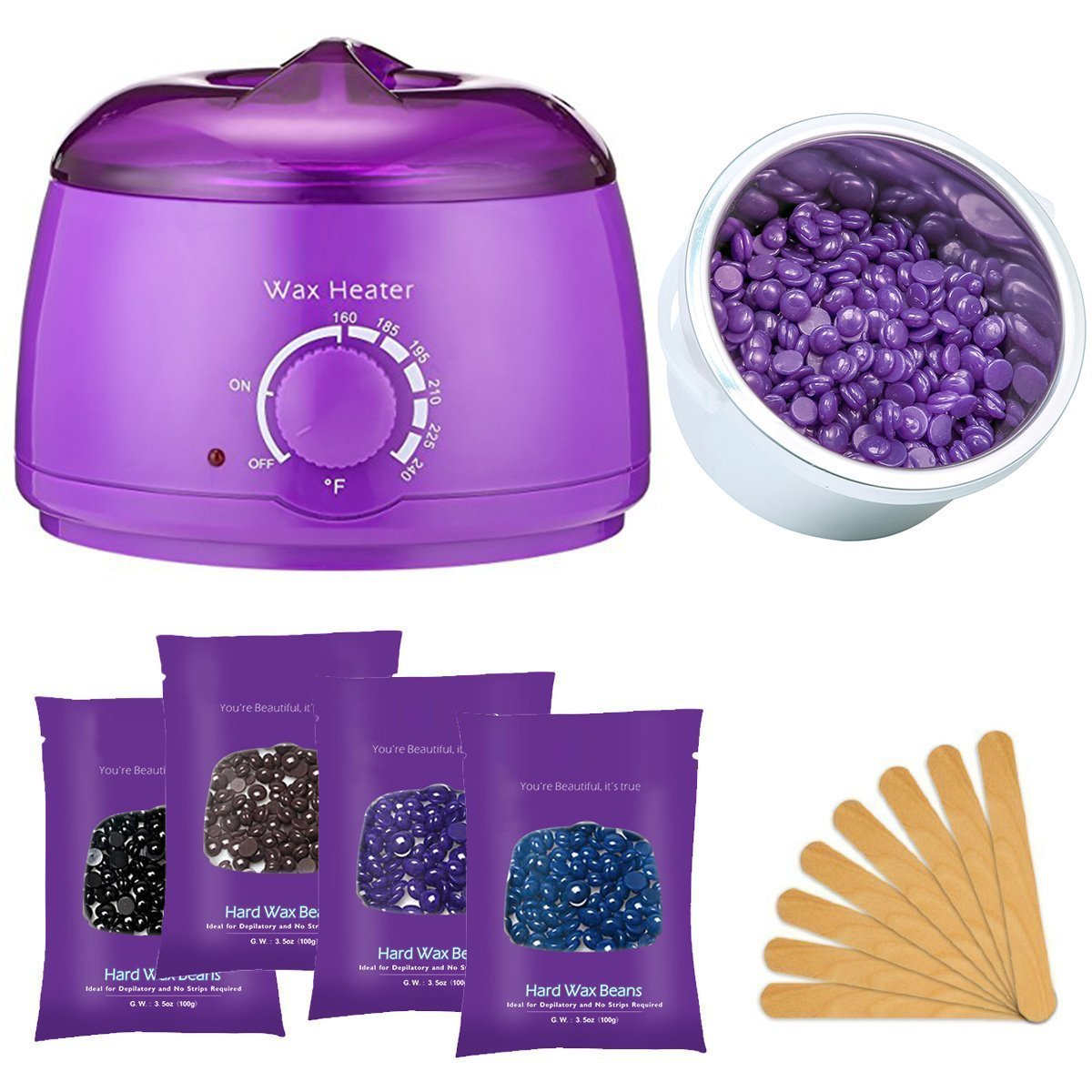Wax Warmer, Fitnate Hair Removal Hot Wax Warmer Set Stylish Electric Hair Removal Heater 160℉ - 240℉ Control With 4 Pack of Wax Beans And 10 Sticks