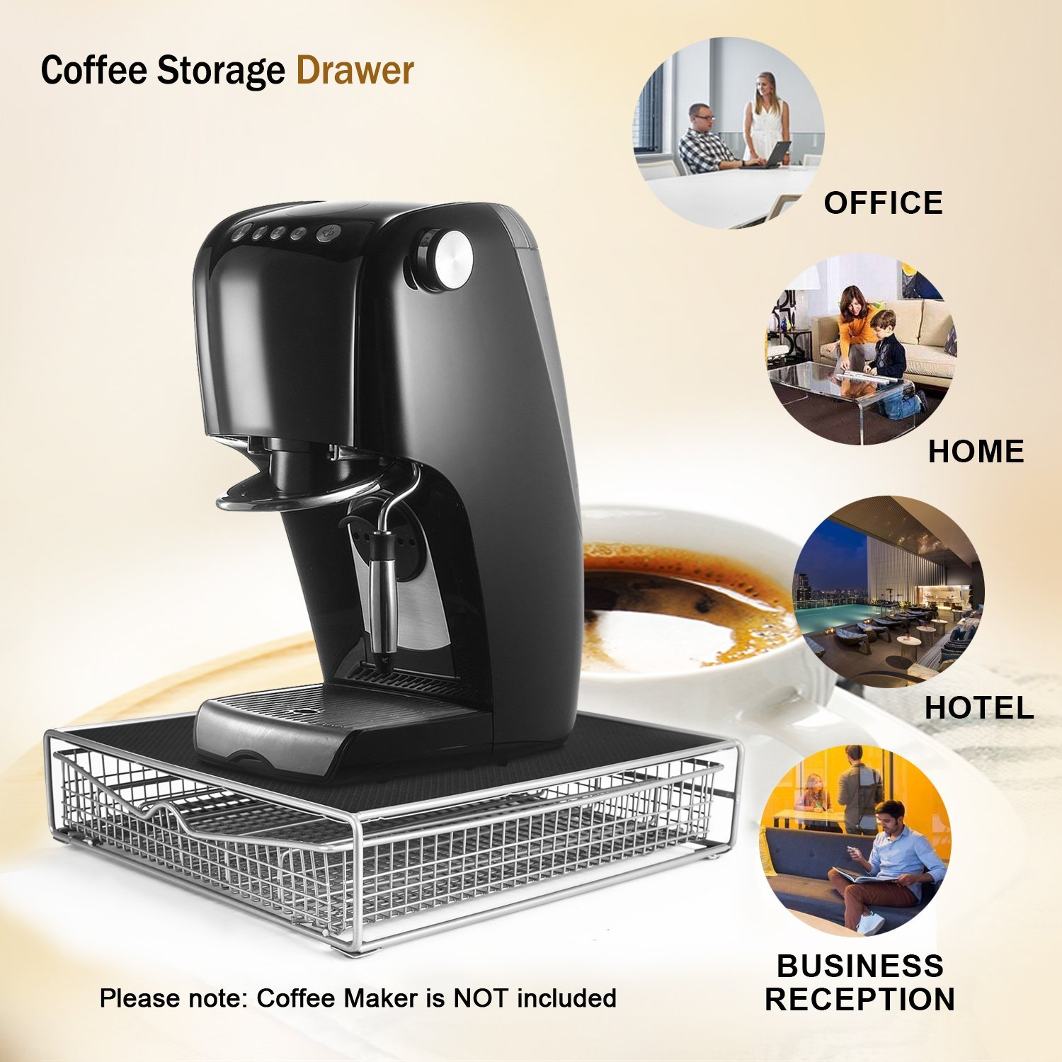 Fitnate Coffee Drawer for K-cup Coffee Pod Coffee Storage Organizer for 36 K-Cup Storage Drawer Holder with a Rack Mat for most Coffee K Cup Pods or Tea and Coffee Makers