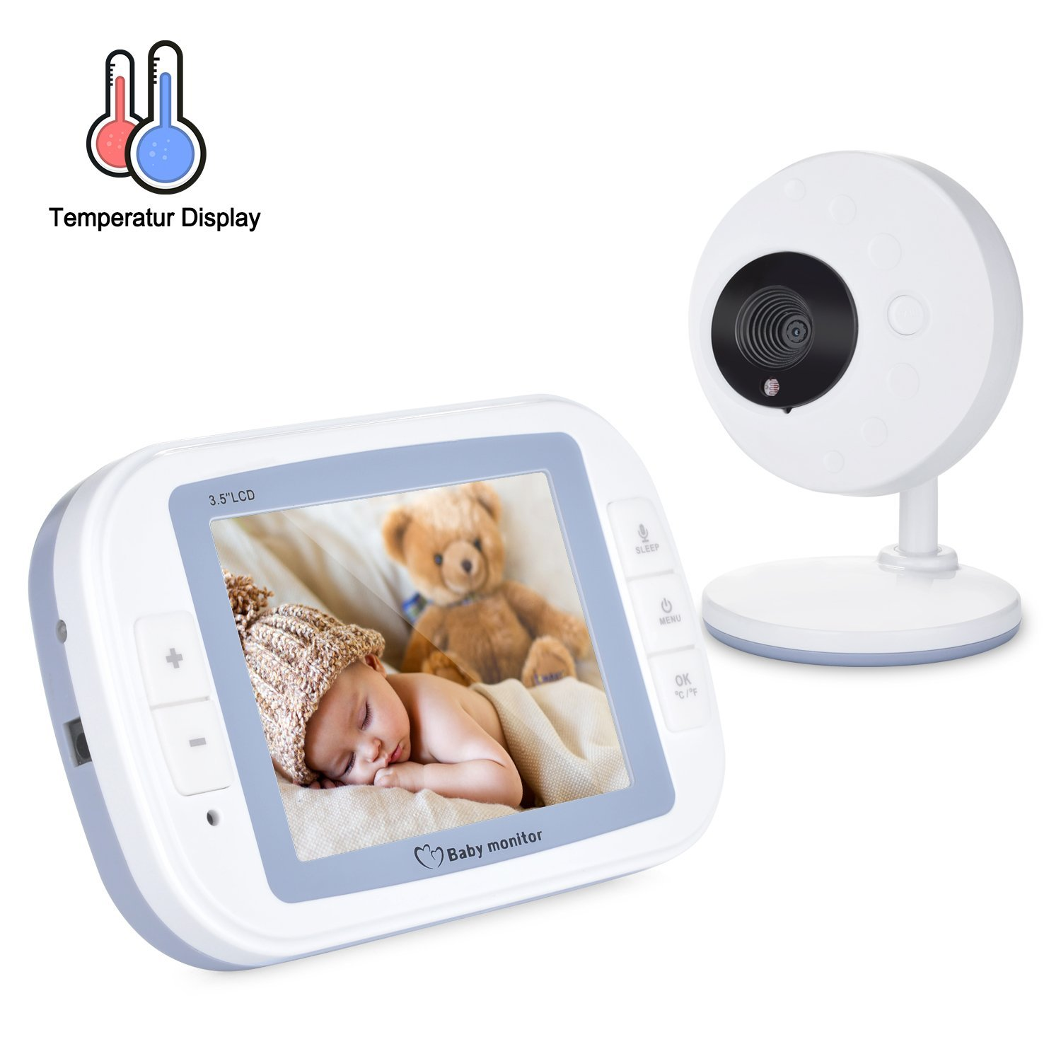 Fitnate 3.5Inch Video Baby Monitor with LCD Display, Digital Camera, Infrared Night Vision, Two Way Talk Back, Temperature Monitoring, Lullabies, Long Range and High Capacity Battery, Large Screen