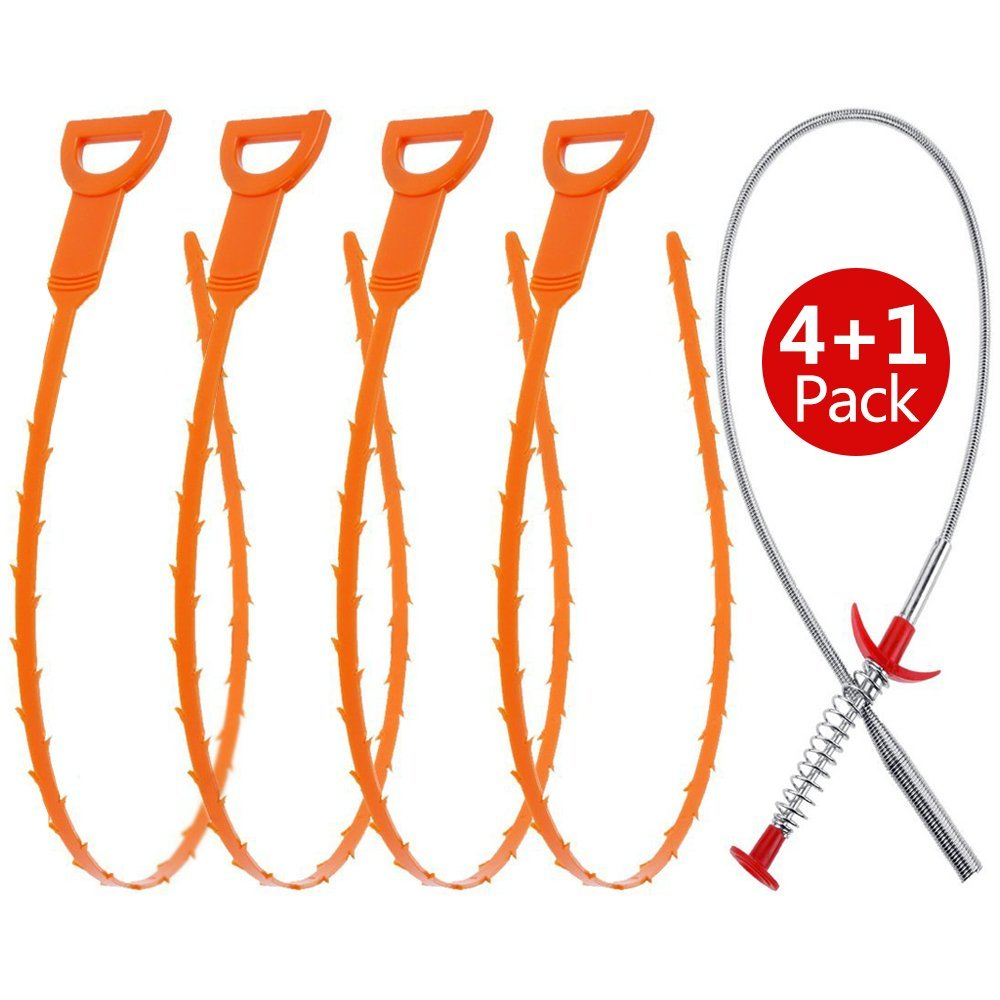Fitnate 5 in 1 Drain Cleaner Tool With 4 Drain Auger Snake&1 Stainless Steel Claw-action Grabber Cleaner For Drain, Sink ,Bathtub And Toilet - Hook Catcher Unclogger and Auger Plumbing