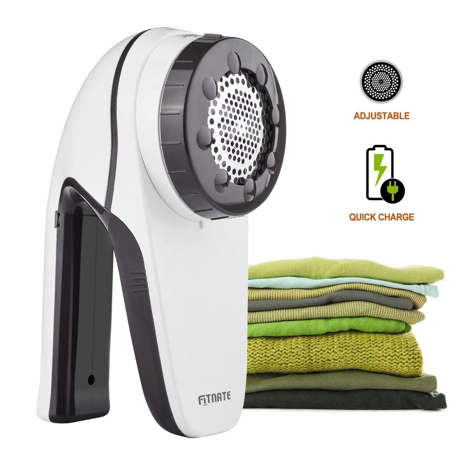 Fitnate The New Upgrade Electric Lint Remover Fabric Shaver Fabric Defuzzer Lint Shaver Clothes Trimmer with USB Cable for Charging, Rechargeable Clothes Fuzz Pill Sweater Shaver with Six Blades