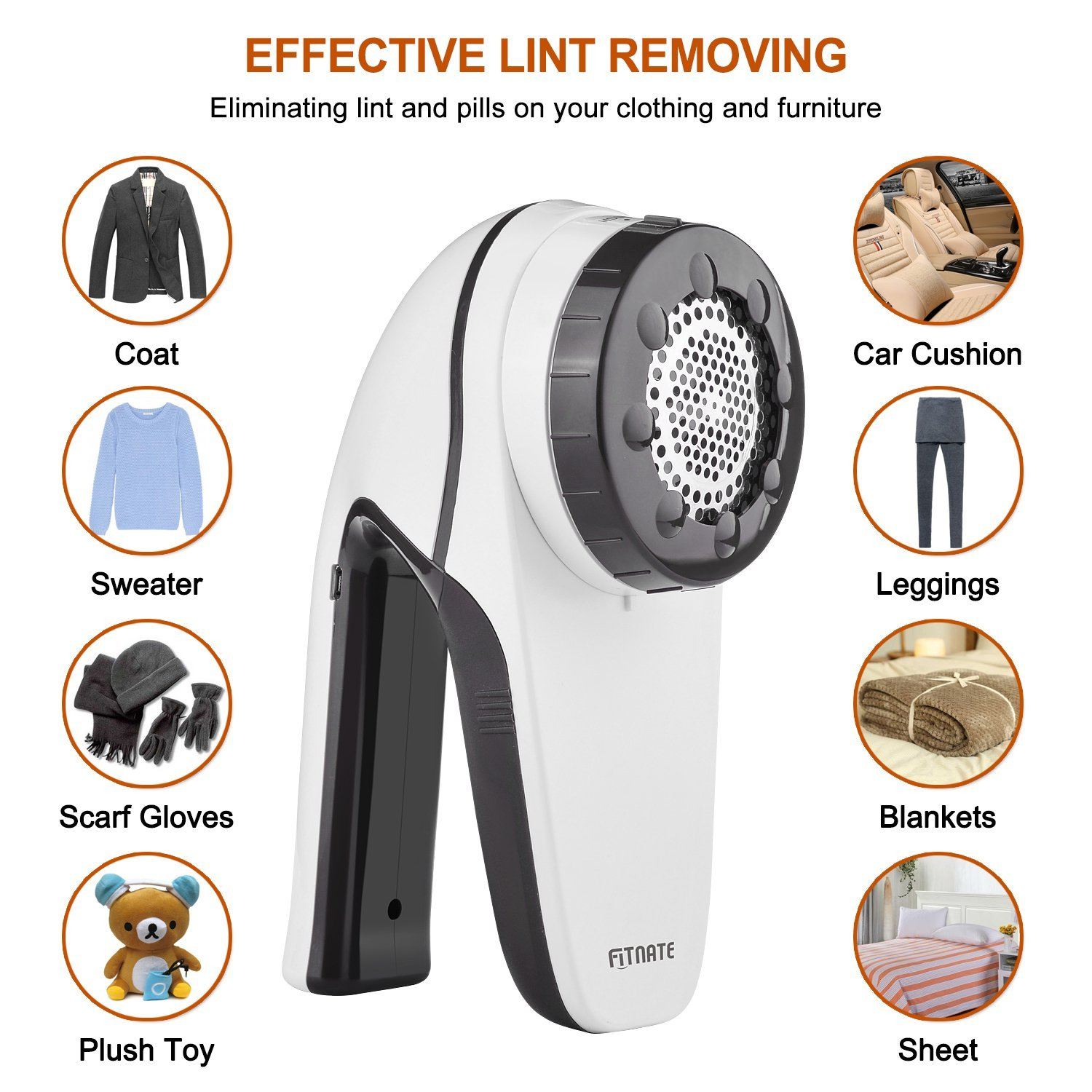 Fitnate The New Upgrade Electric Lint Remover Fabric Shaver Fabric Defuzzer  Lint Shaver Clothes Trimmer With ...