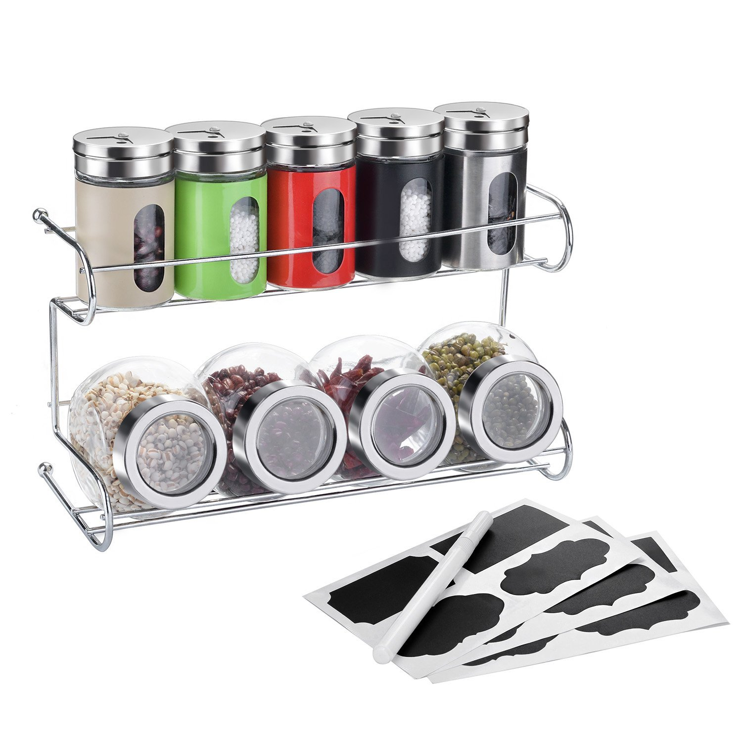 Kitchen 9-Jar Spice Rack, Fitnate Spice Shelf Organizer With 5 Spice Bottles,4 Storage Jar And Mark Label Set For Free