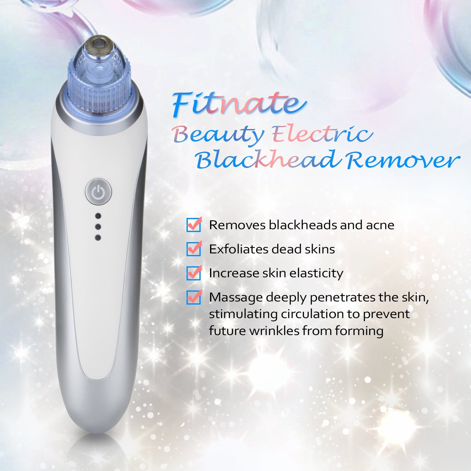 Blackhead Remover, Fitnate-Beauty Electric Blackhead Removal Tool, Rechargeable Blackhead Pore Vacuum Suction Remover, Skin Pore Cleanser with 5 Replaceable Suction Probes (Blue Light introduction): B