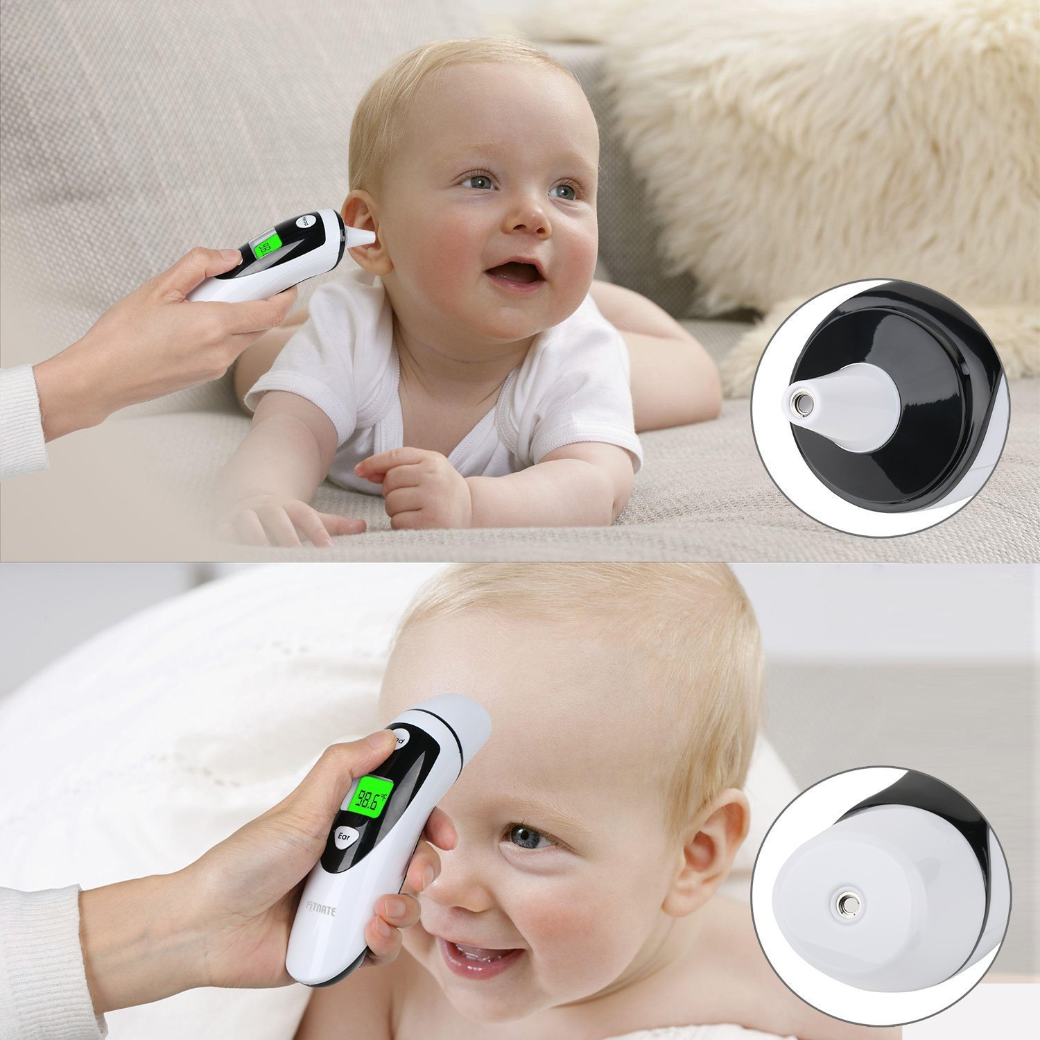FITNATE FDA & CE Approved for Infant/Baby & Adult Ear thermometer and Forehead Thermometer, Medical Upgraded Infrared Lens Technology on Improved Accuracy