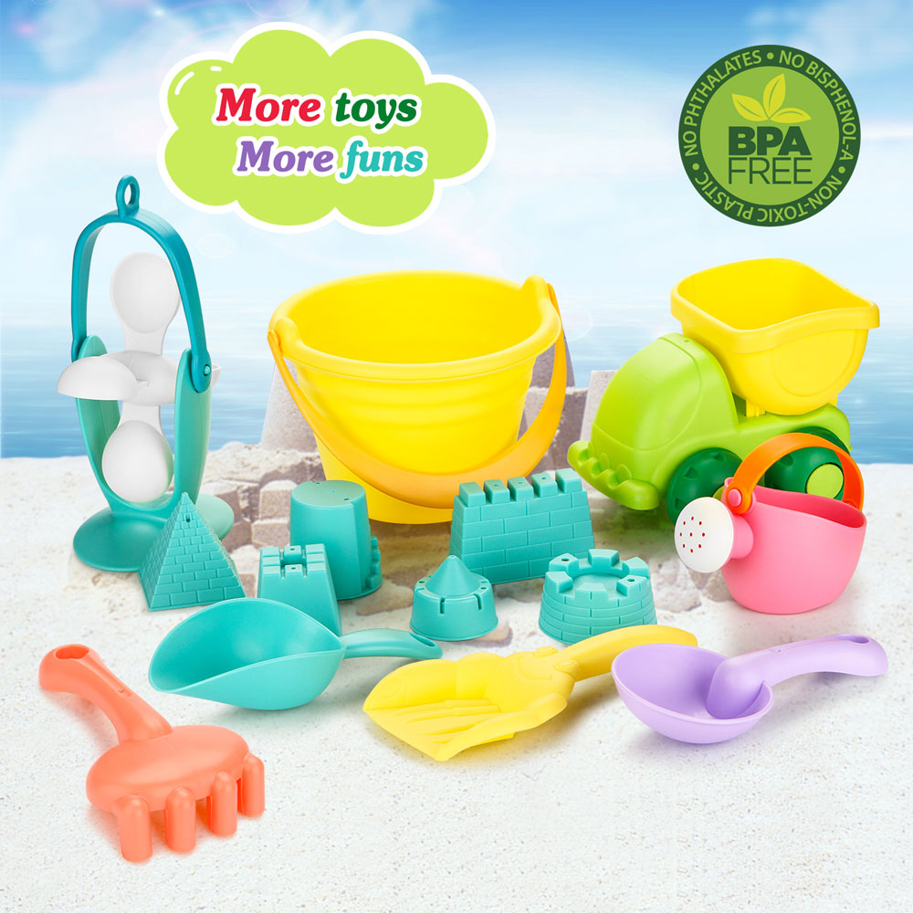 Fitnate 14PCS Beach Toys Set Soft Plastic Pool Toy s/Bath Toys for Kids, Boys, Girls& Toddler with Mesh Bag ,Truck, Bucket, Shovels, Rakes, Lots of Sand Molds (BPA Free)