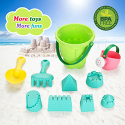 Fitnate Beach Toys Set Soft Plastic Pool Toy s/Bath Toys for Kids, Boys, Girls& Toddler, 10PCS with Mesh Bag , Bucket, Shovels, Rakes, Lots of Sand Molds (BPA Free)
