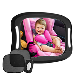 LED Baby Car Mirror, FITNATE 360°Rotatable Design, Large and Stable Mirror with Acrylic Material, Four Sturdy Strips for Safe and Secure Driving Environment
