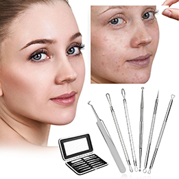 Fitnate-beauty® Professional Blackhead Remover Pimple Comedone Extractor Tool Best Acne Removal Kit – 6 Set Treatment for Blemish,Whitehead Popping,Zit Removing for Risk Free Nose Face Skin with Leath