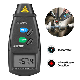 Finate 20713A Digital Tachometer RPM Meter, Non Contact Laser Photo | 2.5-99,999 RPM Accuracy | With Batteries Included,4 Pack of Reflective Tape, Revision Instruction