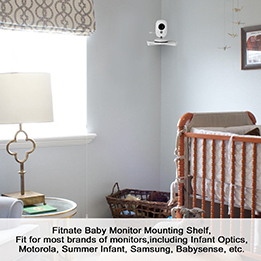 Fitnate Baby Monitor Camera Corner Shelf - for Crib, Wall Mount by Sticker, fits Infant Optics, Babysense, Motorola, Summer Infant, Hello Baby and other Universal Monitors (Corner)