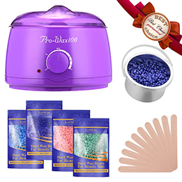 FITnate Hot Wax Warmer Hair Removal Waxing Kit With 4x100g Flavors Hard Wax Beans and 10 Wax Applicator Sticks for Legs, Face, Body, Bikini Area,  Stylish Electric 160℉ - 240℉ Heater Control