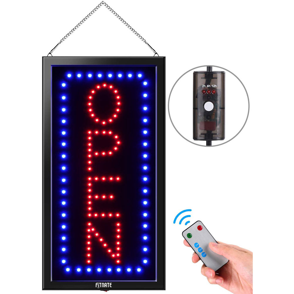 LED Open Sign, 19x10inches(Update Version) Business Open Sign Advertisement Board Electric Display Sign, With Remote Control & Timing Function, 2 Lighting Modes Flashing & Steady, for Business, Walls,